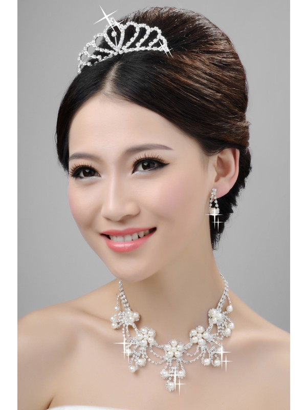 Elegant Alloy Clear Crystals Pearls Wedding Headpieces Necklaces Earrings Set