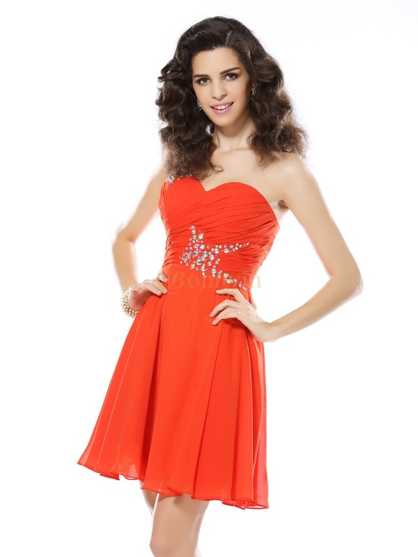 Orange Chiffon One-Shoulder A-linje Kort/Mini Kjoler